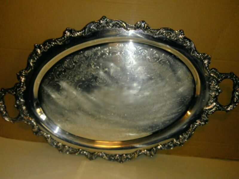 Stunning Silver plated Ornate Footed Serving Tray 25 X 16 Inches