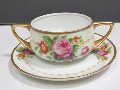 Rosenthal Selb Bavaria Donatello Double Handle Cream Soup Bouillon Cup Saucer