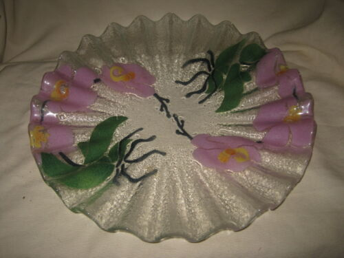 """Sydenstricker Fused Glass 12"""" Ruffled Serving Plate Lily Design"""