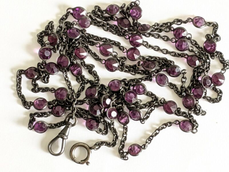 Victorian Gunmetal Amethyst Color Crystal Muff Pocket Watch Chain or Necklace