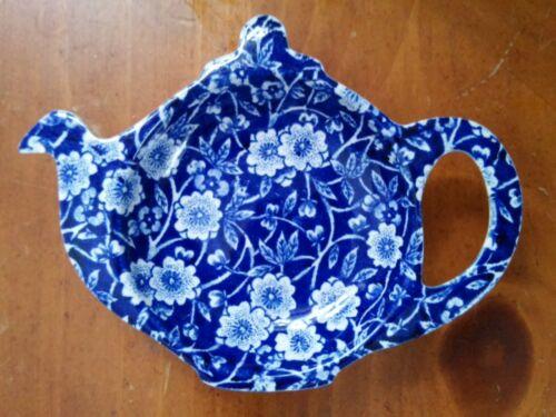 RARE CALICO Blue(BURLEIGH)Stafforshire England Floral Teapot Tea Bag Holder Rest