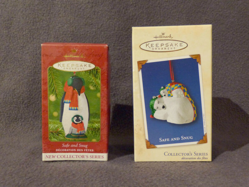 2001 2002 Hallmark Safe & Snug porcelain ornaments MINT in damaged boxes