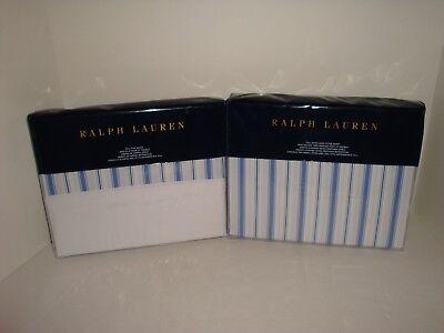 Ralph Lauren Dorsey Jobs Lane Full Flat Fitted Sheets NIP Blue White Stripe