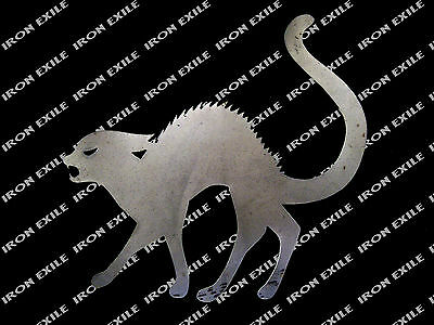HALLOWEEN CAT -- Scary Yard Garden Decor Metal Sign Plasma Silhouette Cutout - Scary Halloween Cutouts