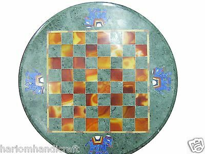 """18"""" Green Marble Coffee Round Table Top Marquetry Inlay Mosaic Patio Decor H1145"""