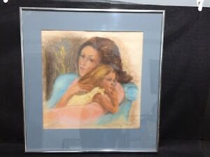 Beautiful Framed Pastel Picture of Mother & Child Signed & Dated