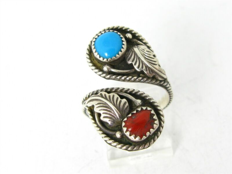 Vintage Sterling Silver EDE Navajo Natural Turquoise & Coral Bypass Ring 5g B29