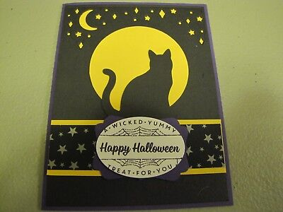 Spooky Night Cat Happy Halloween Handmade Card Kit 4 with some stampin - Card Happy Halloween