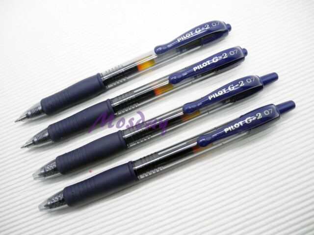 4 x Pilot G2-7 Roller Ball Pen Retractable Gel Ink 0.7mm Fine, BLUE BLACK