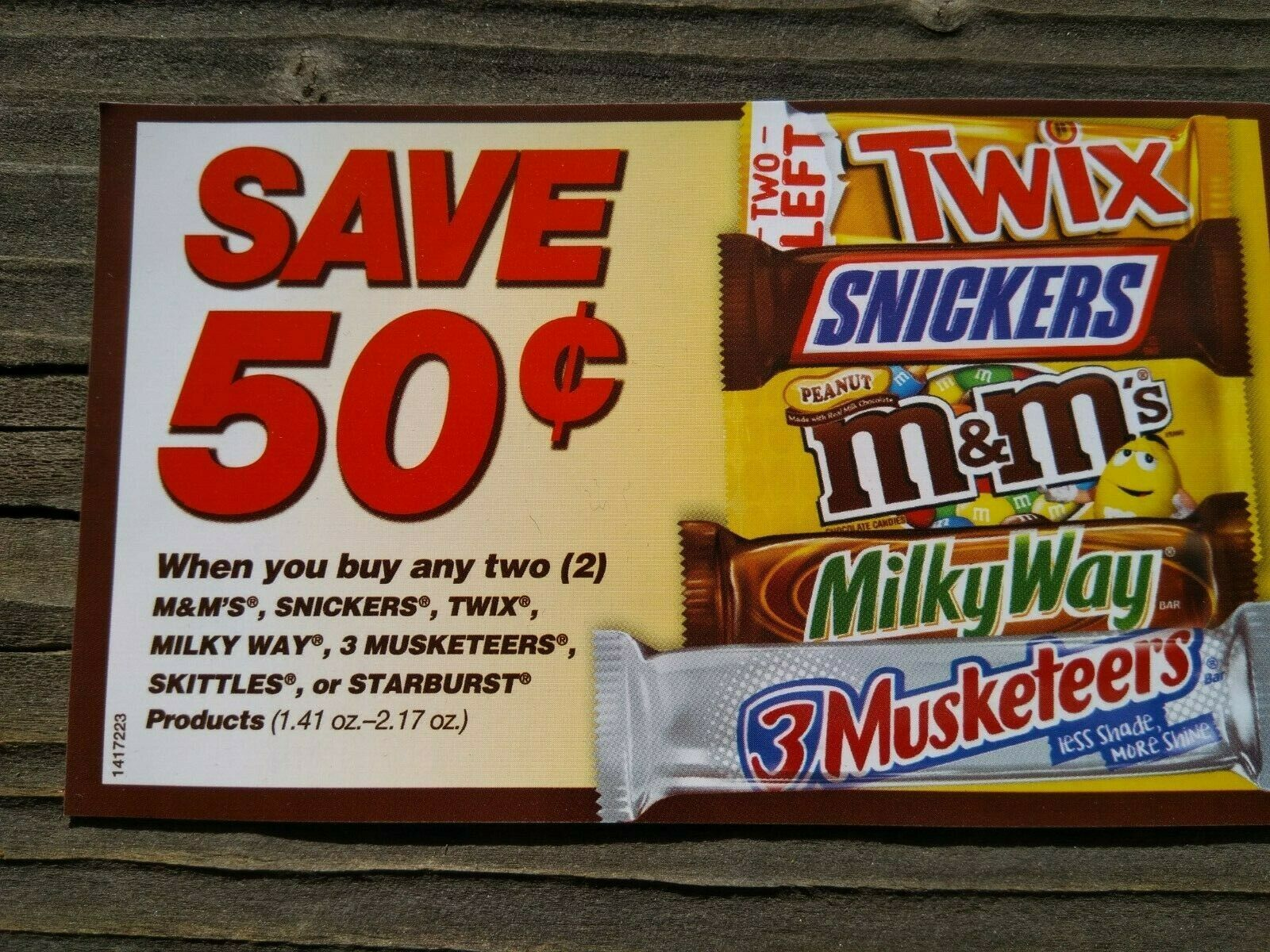 25 .50/2 Any 2 Mars Snickers Twix M Ms Milky Way Candy Bar Coupons 05/21 - $4.50