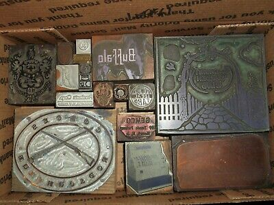 No.61 Lot Of 17 Vintage Cuts Printing Block Letterpress Lead Copper Zinc Antique