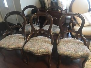 Five (6) Antique dining room chairs