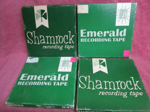 """4 Reels SHAMROCK or EMERALD Recording Tape 1800 Ft 7""""  to open reel"""
