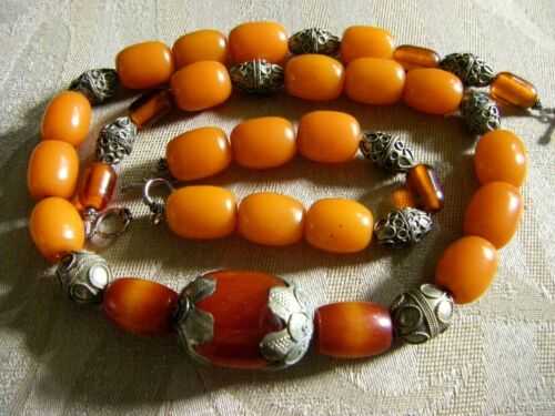 ORIGINAL WEARABLE ART Natural Amber Necklace & Bracelet with Antique Silver
