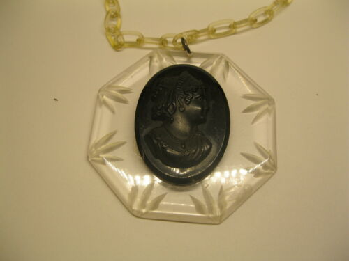 Large Vintage Black Cameo Celluloid Mourning Pendant Necklace