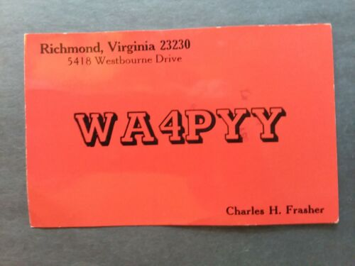 RICHMOND, VIRGINIA- WESTBOURNE DRIVE- CHARLES H. FRASHER- WA4PYY- 1976- QSL