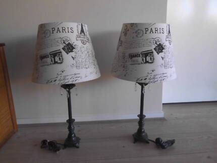 FRENCH/PARIS STYLE LAMP STANDS & SHADES PAIR