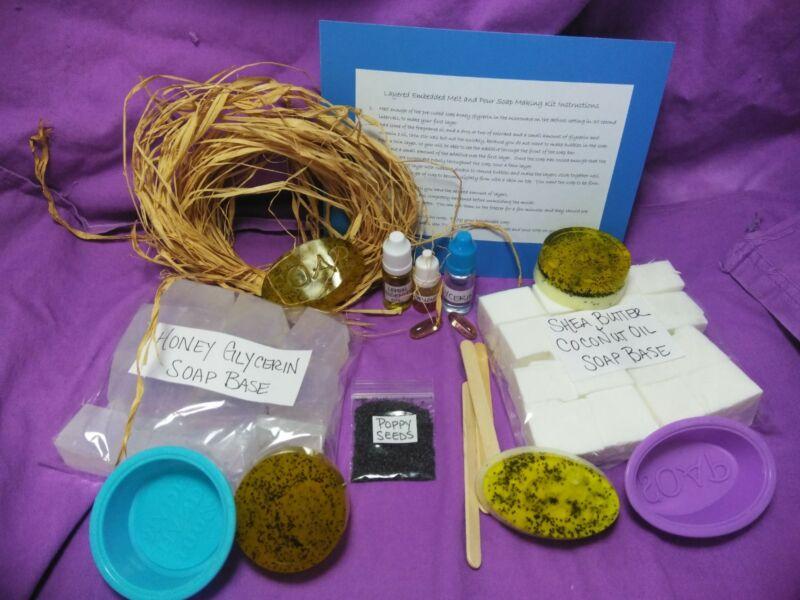 New! Soap Making Kit Poppy Seed Lemon EO Organic Melt Pour Kit Set 2 lbs Gift
