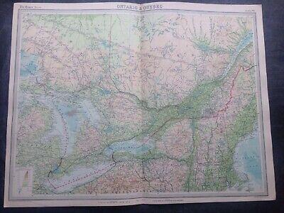 ONTARIO & QUEBEC 1922 WORLD MAP,TIMES ATLAS,BARTHOLOMEW,EDINBURGH,