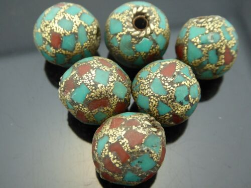 Vintage Tibetan Style Turquoise Coral Nepal Antique Bronze Silver 14mm Bead