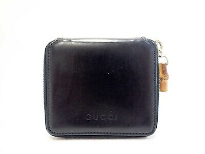 Authentic GUCCI Bamboo Coin Wallet Purse Black Leather Vintage