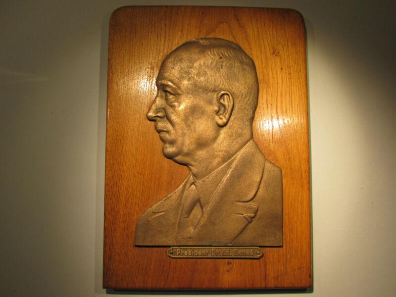 Edward Benes Czechoslovakia President Lg Metal Wood Plaque Bohemia Czech WWII