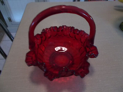 """Fenton Red Glass Basket with Handle Ruffle Thumb Print Design 8"""" Candy Dish or"""