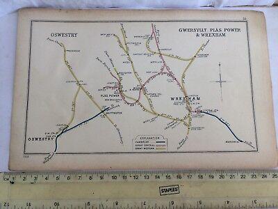 GOBOWEN PLAS POWER WREXHAM BRYN MALLEY GWERSYLLT COL. OSWESTRY RAILWAY MAP 1905