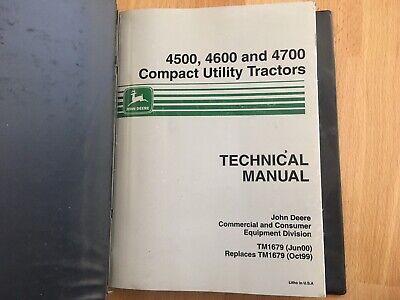 John Deere 4500 4600 4700 Tractor Technical Service Repair Manual Tm1679 Oem