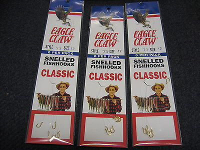 (18 Snelled Eagle Claw 073 Gold Salmon Egg Fishing Hooks Size 12)