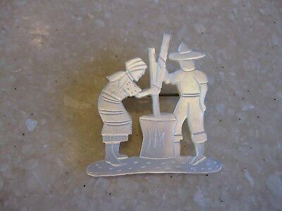Older Vintage Ethnic MOP Carved Pin Brooch / Man & Woman Churning Butter?