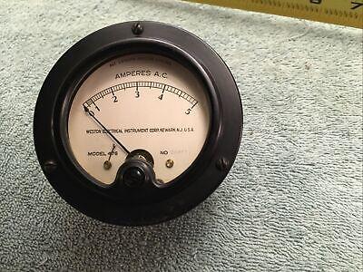 Vintage Radio Panel Meter Weston Ac Amperes 0-5 Me11