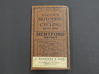 Bicycle, Barons Motoring & Cycling Road Map, c.1910 Hertford