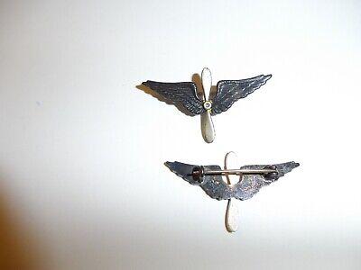 e3754p WW1 US Army Air Service Collar Insignia pair silver prop IR30A