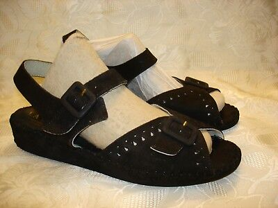 Women's LA PLUME black wedge sandals shoes leather size 38 for sale  Brooklyn