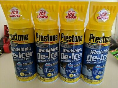 4 Cans Of Prestone Windshield De-icer 11 oz cans. Scraper Built Into Top Of Can.