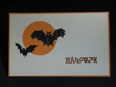 Vintage Bats In The Moonlight Halloween Postcard-Pub By Gibson-MINT
