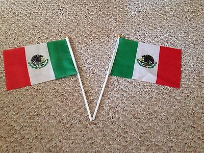 """Mexican flags  New from 6""""-8"""", Polyester, Mexico National Flag, hand waiving"""