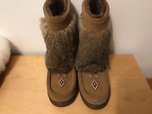 Half Mukluk Native Design Oak  Vibram Sole Ladies 6 and 11
