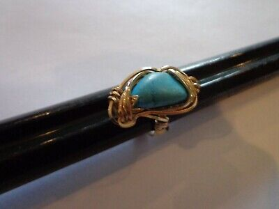 VINTAGE HANDMADE GOLD FILLED WIRE WRAP TURQUOISE RING SIZE 5 3/4 Gold Filled Wire Ring