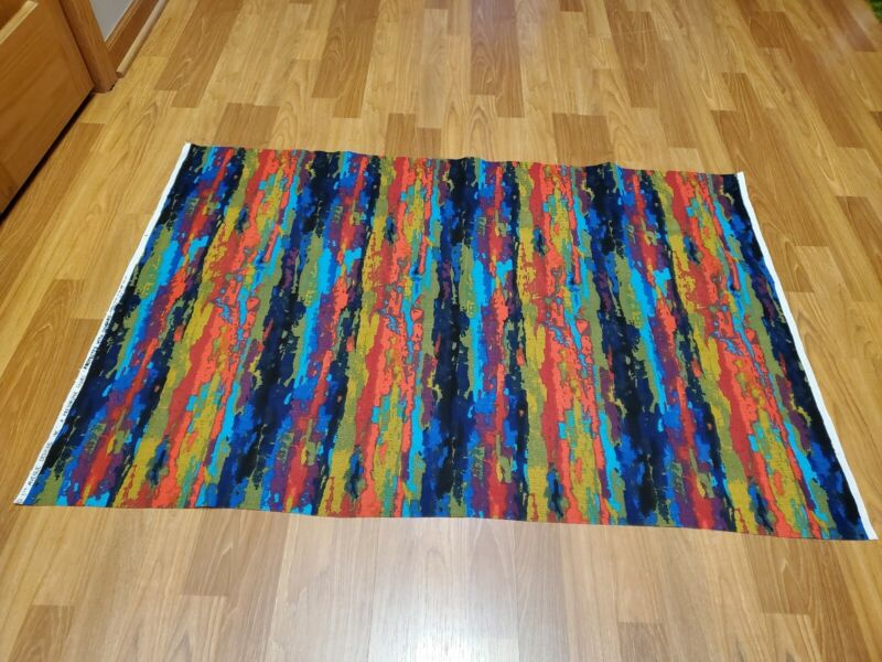 Awesome RARE Vintage Mid Century retro 70s bright abstract 5th Avenue fabric!!