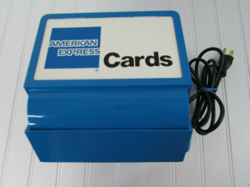 Vintage Addressograph Blue American Express Credit Card Machine NBS Model 86AE