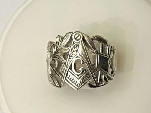 Unique Custom Sterling Silver Masonic Ring w/ Hinged Side Door Sz 9 1/2, 19.9 Gr