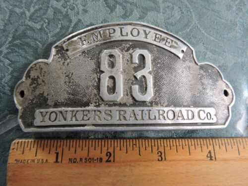 Rare 1890s New York City Subway Yonkers Railroad Company Hat Badge #83