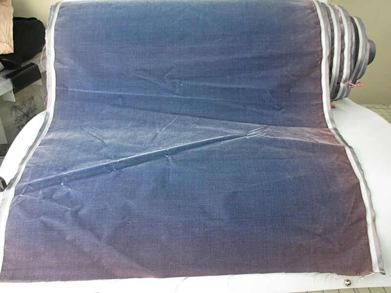 Antique velvet fabric France Victorian cotton silk Dusk Blue
