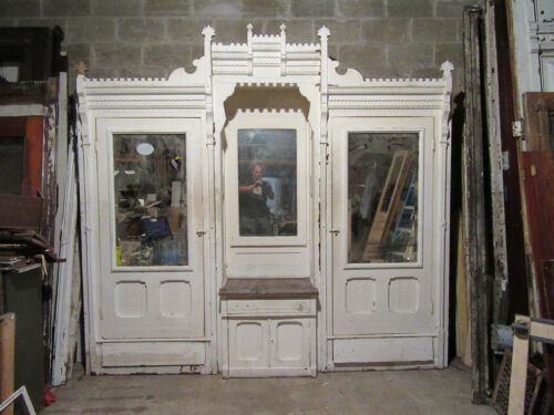 ~ ANTIQUE CARVED WALNUT CLOSET FRONT BUILT IN ARMOIRE ~ 112 X 105 ~ SALVAGE ~