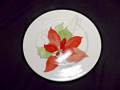 """Block Spal POINSETTIA 8"""" SALAD PLATE Watercolors Portugal Holiday China(BSE)"""