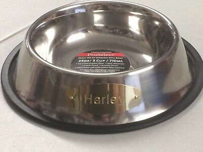 ProSelect Dog bowl Stainless Steel Personalized 24 oz 3 cup- HARLEY -IRREGULAR