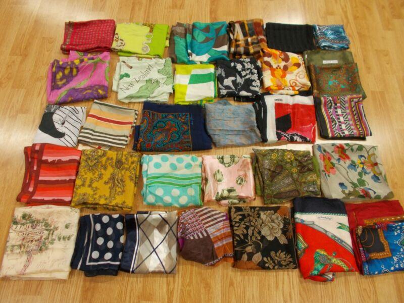 Vtg Antique CUTTER LOT of 31 DESIGNER Big Square Long SILK Fabric Scarf