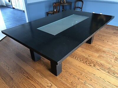 Modern Frosted Glass Insert Large Black Dining Table, Solid Wood, Block Legs